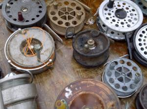 A table full of reels found at Winbledon Car Boot in Plough Lane.