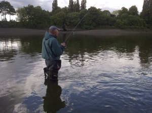 Jeff fishing at low tide