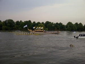 Gloriana with the Olympic flame near Barnes