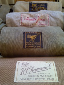 A selection of good cane rod makers rod bags