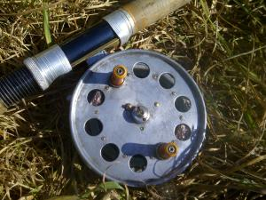 A Speedia Wide Drum MKII Reel attached to the late Jack Fuller's cane rod.