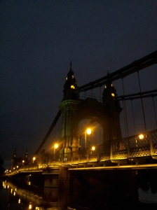 Hammersmith Bridge with a flood tide.
