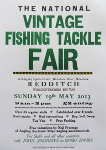The National Vintage Fishing Tackle Fair 2013 poster printed using fine letterpress by Tilley Printing.