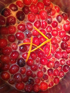 Mulled wine cranberries with orange zest