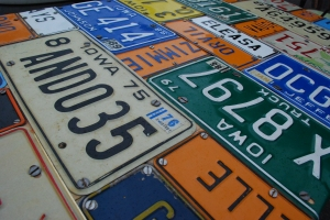 Vintage number plate table top found at Sunbury Antiques Market