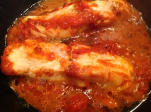 Poached cod with roasted tomato and roast garlic sauce from the 'Tales' kitchen