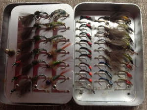 A Wheatley fly box full of nymphs