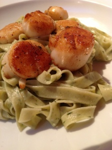 Wild garlic with pan-fried scallops
