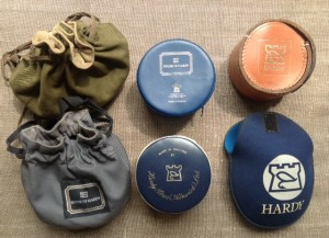 A range of Hardy pouches and reel cases