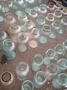 Glass jars found at Sunbury Antiques Market